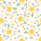 Embroidery colorful simplified ethnic light floral seamless patt. Embroidery colorful simplified ethnic floral seamless pattern. Vector traditional folk roses stock illustration