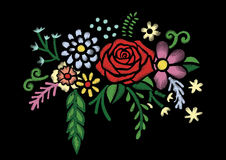Embroidery colorful simplified ethnic neck line floral pattern with roses. Vector symmetric traditional folk flowers ornament on b. Lack background for design Royalty Free Stock Image