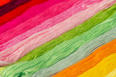 Embroidery colorful thread texture background Stock Photo