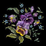 Embroidery colorful trend floral pattern with pansies and forget. Me not flowers. Vector traditional folk heartsease bouquet on black background for clothing vector illustration