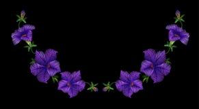Embroidery crewel floral petunia neckline decoration. Vector illustration Royalty Free Stock Photos