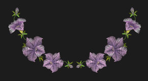 Embroidery crewel floral petunia neckline decoration. Vector illustration Stock Images