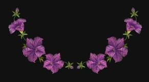 Embroidery crewel floral petunia neckline decoration. Vector illustration Royalty Free Stock Photo