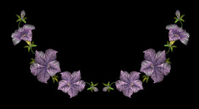 Embroidery crewel floral petunia neckline decoration. Vector illustration Royalty Free Stock Images