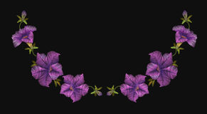 Embroidery crewel floral petunia neckline decoration. Vector illustration Royalty Free Stock Image