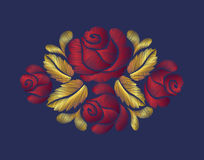 Embroidery crewel flower patch traditional ornament decoration red roses leaves blueberry rich glowing golden gold Stock Photos
