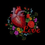 Embroidery crewel human anatomical heart medicine organ flower rose blooming. Red stitch embroidered design texture. Detailed patch. Fashion decoration template royalty free illustration