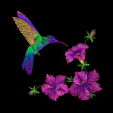 Embroidery crewel hummingbird bird flying petunia flower decoration patch print  illustration Stock Photos
