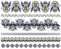 Embroidery cross-stitch pattern. Embroidered good like handmade cross-stitch ethnic Ukraine pattern Stock Images