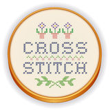 Embroidery, Cross Stitch on Wood Hoop Stock Photography