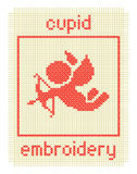 Embroidery with cupid and frame Royalty Free Stock Photography