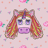 Embroidery cute pattern with fantasy unicorn and roses. Stock Images