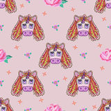 Embroidery cute seamless pattern with fantasy unicorn. Stock Images