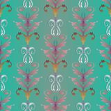 Embroidery damask seamless pattern. Baroque style floral vector. Tapestry background. Vintage embroidered flowers, leaves, swirls, scrolls. Antique fancywork vector illustration