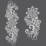 Romantic loral retro lace vector long pattern, ornamental design with flowers and swirls stock illustration