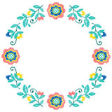 Embroidery decorative floral frame vector pattern, ornament for textile decor. Bohemian ethno handmade style background Stock Images