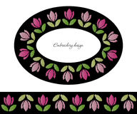 Embroidery decorative frame and border set. Ribbon with tulips added in brushes. Royalty Free Stock Image