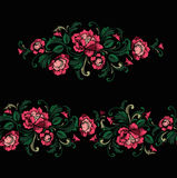 Embroidery Design in Baroque Style. Seamless border and independent composition. Vector Stock Image