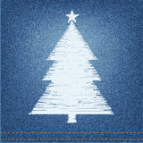Embroidery designs pine on denim background Stock Photos