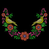 Embroidery with dove bird, wild flowers wreath for neckline. Vec Royalty Free Stock Photos