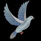 Embroidery dove fabric design. Embroidery design with dove bird pigeon. Natural artwork for clothing, patches and stickers. Decorative fancywork elements and Stock Image