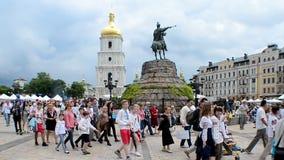 Embroidery dress Vyshyvanka parade in Kiev, Ukrain stock footage