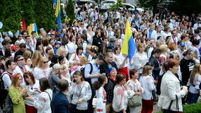 Embroidery dress Vyshyvanka parade in Kiev, Ukraine, stock footage