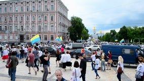 Embroidery dress Vyshyvanka parade in Kiev, Ukraine, stock video