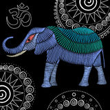Embroidery elephant fabric design. Embroidery elephant artwork for clothing, patches and stickers. Om symbol and zentangle mandalas. Decorative fancywork Stock Images
