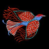 Embroidery. Embroidered design element - bird - in vintage style Royalty Free Stock Images