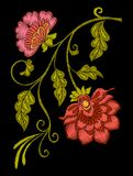 Embroidery. Embroidered design elements with flowers and leaves Royalty Free Stock Images