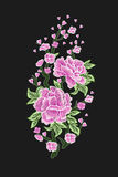Embroidery. Embroidered design elements with sakura flowers and leaves isolated.Pink Flowers. Royalty Free Stock Image