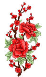 Embroidery. Embroidered design elements with sakura flowers and leaves isolated. Red Flowers. Royalty Free Stock Photo