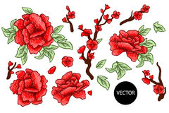 Embroidery. Embroidered design elements with sakura flowers and leaves isolated. Red Flowers. Stock Photo