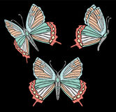 Embroidery ethnic butterfly, line design fashion wearing. Vector vintage , decorative element for embroidery, patches Stock Photography