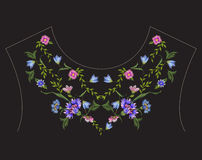 Embroidery ethnic neck line floral pattern with blue cornflowers. Vector symmetric traditional folk flowers ornament on black background for design royalty free illustration