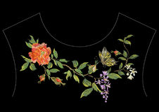Embroidery ethnic neck line pattern with red peony, wisteria and. Butterfly. Vector traditional embroidered floral design with flowers on black background for stock illustration