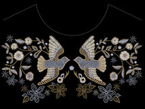 Embroidery ethnic neckline pattern with pigeons and flowers. Stock Images