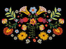 Embroidery ethnic pattern with colorful flowers. royalty free illustration