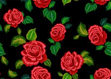 Embroidery ethnic pattern with red roses for fashion wearing. Embroidery ethnic pattern with red roses. Vector embroidered floral design for fashion wearing stock illustration
