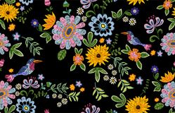Embroidery ethnic seamless pattern with birds and flowers. royalty free illustration