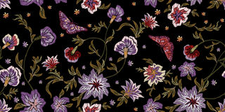 Embroidery ethnic seamless pattern with flowers and butterflies. stock illustration