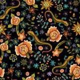 Embroidery ethnic seamless pattern with lizards and flowers. Vector embroidered floral design. Embroidery ethnic seamless pattern with lizards and flowers royalty free illustration