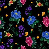 Embroidery ethnic seamless pattern with roses and peonies. vector illustration
