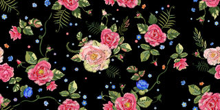 Embroidery ethnic seamless pattern with roses. royalty free illustration