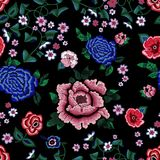 Embroidery ethnic seamless pattern with simplify roses and peonies. vector illustration