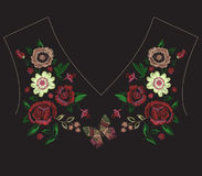 Embroidery exotic neck line pattern with simplified flowers and. Embroidery colorful exotic neck line pattern with simplified flowers and butterfly. Vector stock illustration