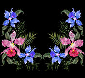 Embroidery exotic neckline pattern with exotic flowers. Vector traditional folk floral ornament with orchids on black background for fashion design stock illustration