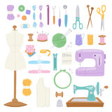 Embroidery fancy-work fine needle-work hobby accessories sewing needle equipment vector illustration. Thread supplies embroidery fancy-work fine needle-work stock illustration