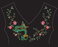 Embroidery fashion ethnic neck line floral pattern with roses an. D dragon. Vector traditional oriental flowers template on black background for clothing design stock illustration